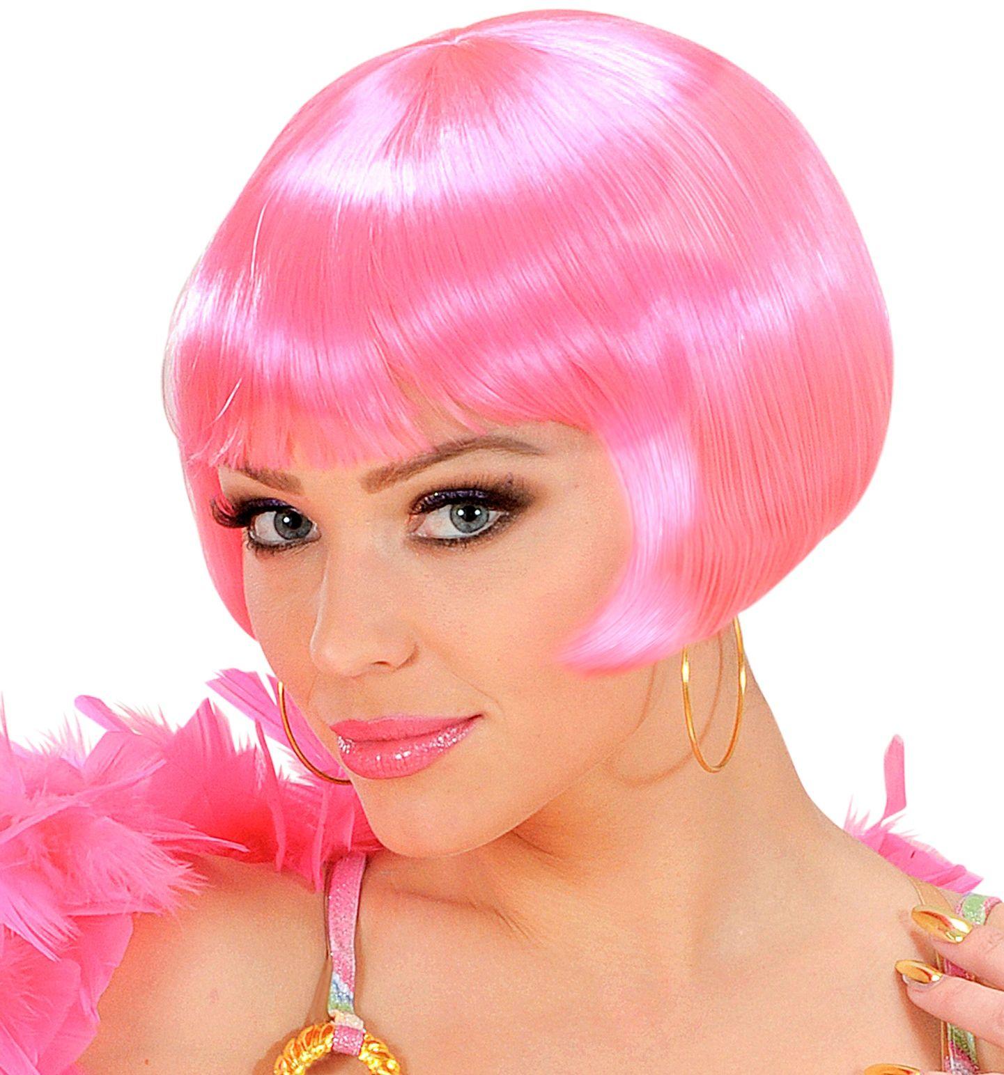 Roze valentina pruik