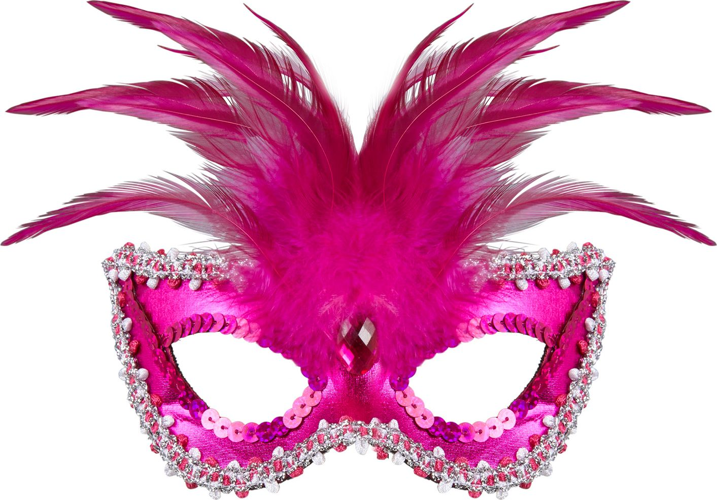 Roze venetiaans oogmasker met veren
