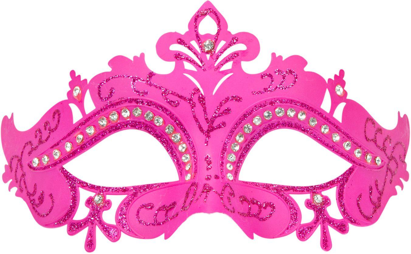 Roze venetiaanse glitter oogmasker