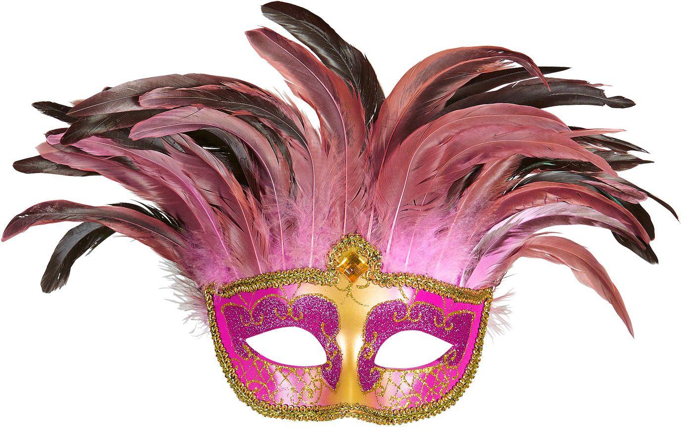 Roze venetiaanse gravin oogmasker met veren