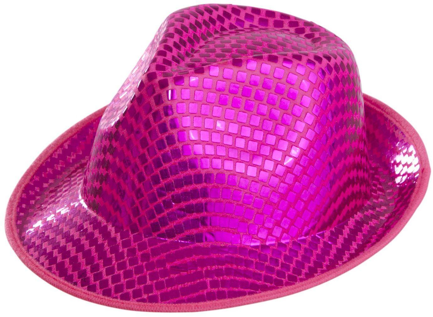 Roze vierkante pailletten fedora