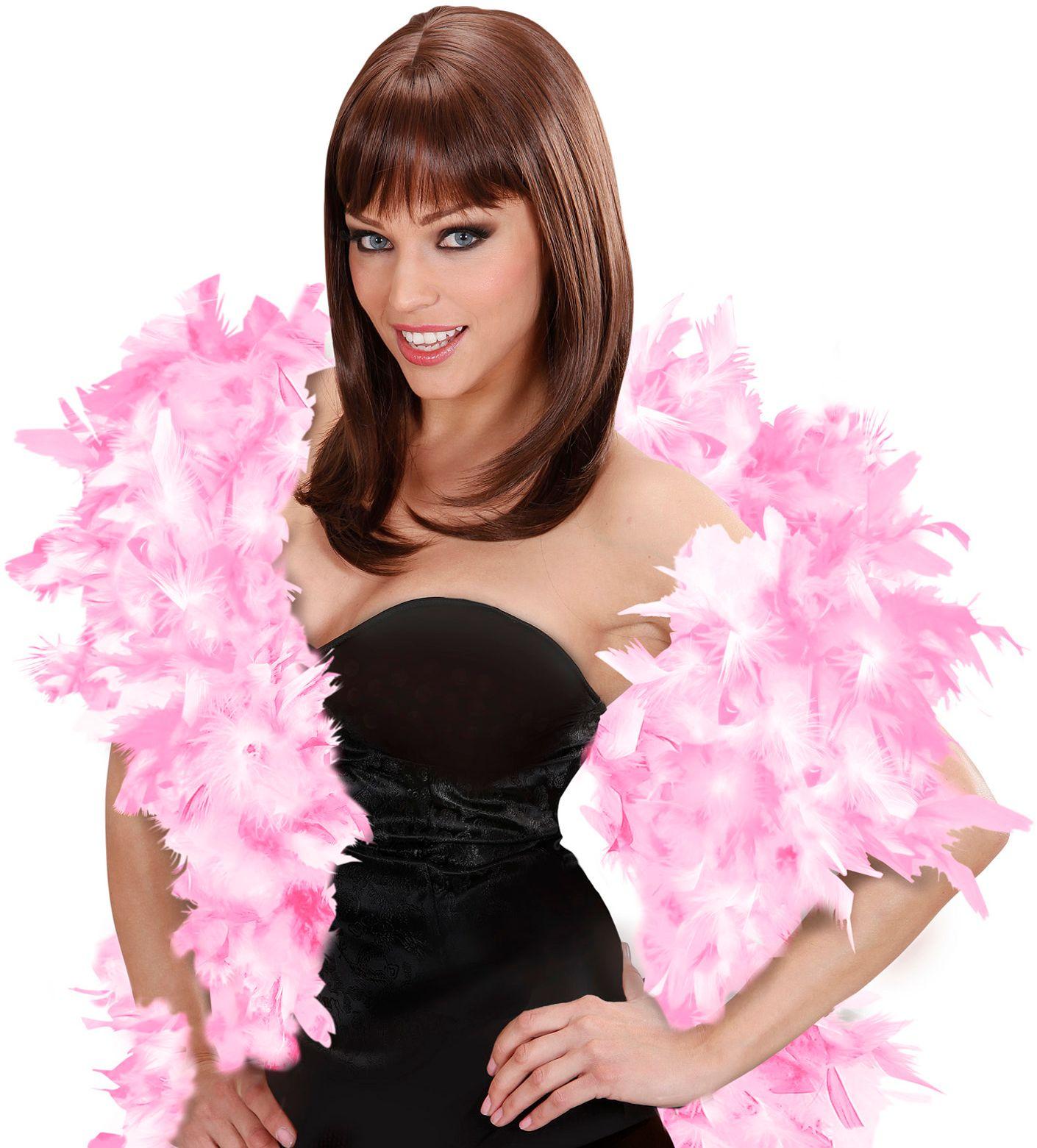 Roze-witte luxe boa