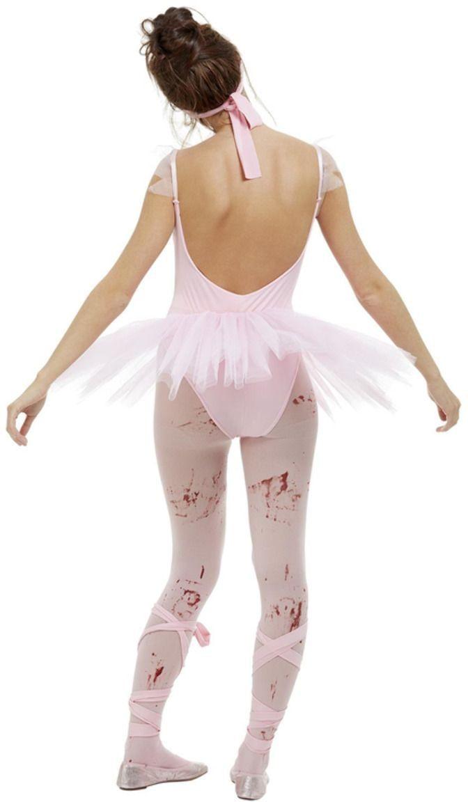 Roze zombie ballerina kostuum
