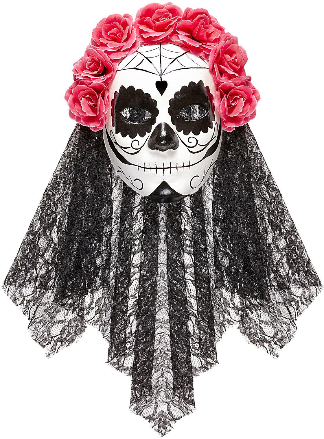 Roze zwart dia de los muertos masker met sluier