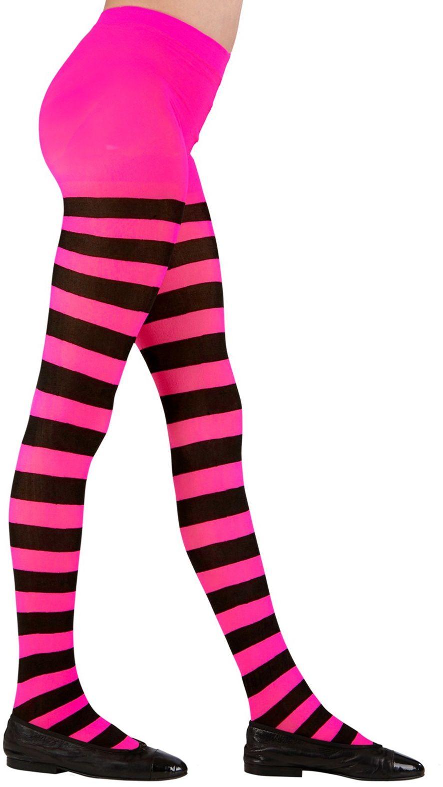 Roze zwart gestreepte kinderpanty