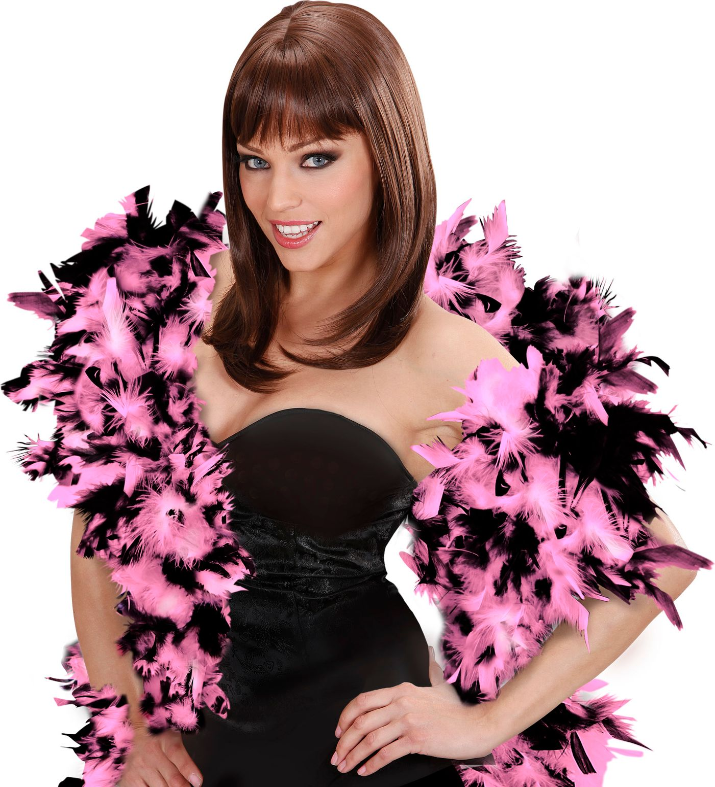 Roze-zwarte luxe boa