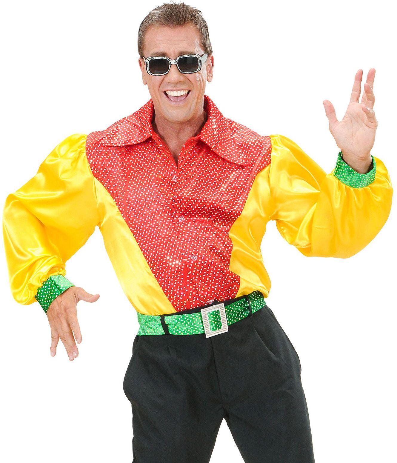 Satijnen shirt met pailletten man