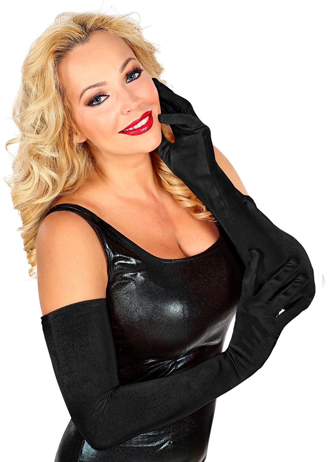 Satijnen zwarte handschoenen