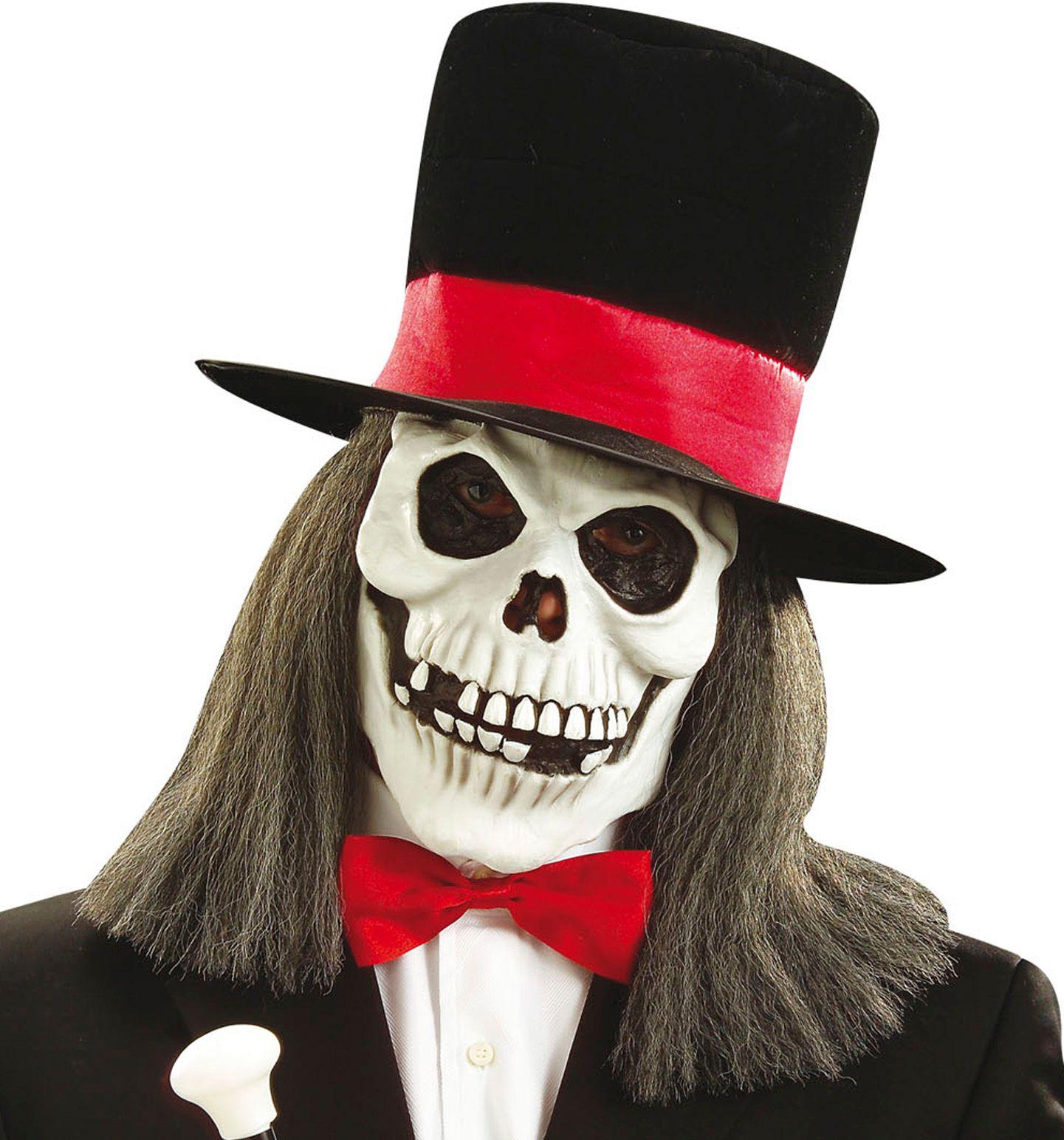 Schedel masker met pruik en hoed