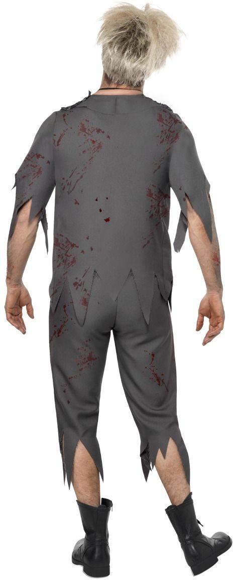 Scholier schoolboy zombie kostuum grijs