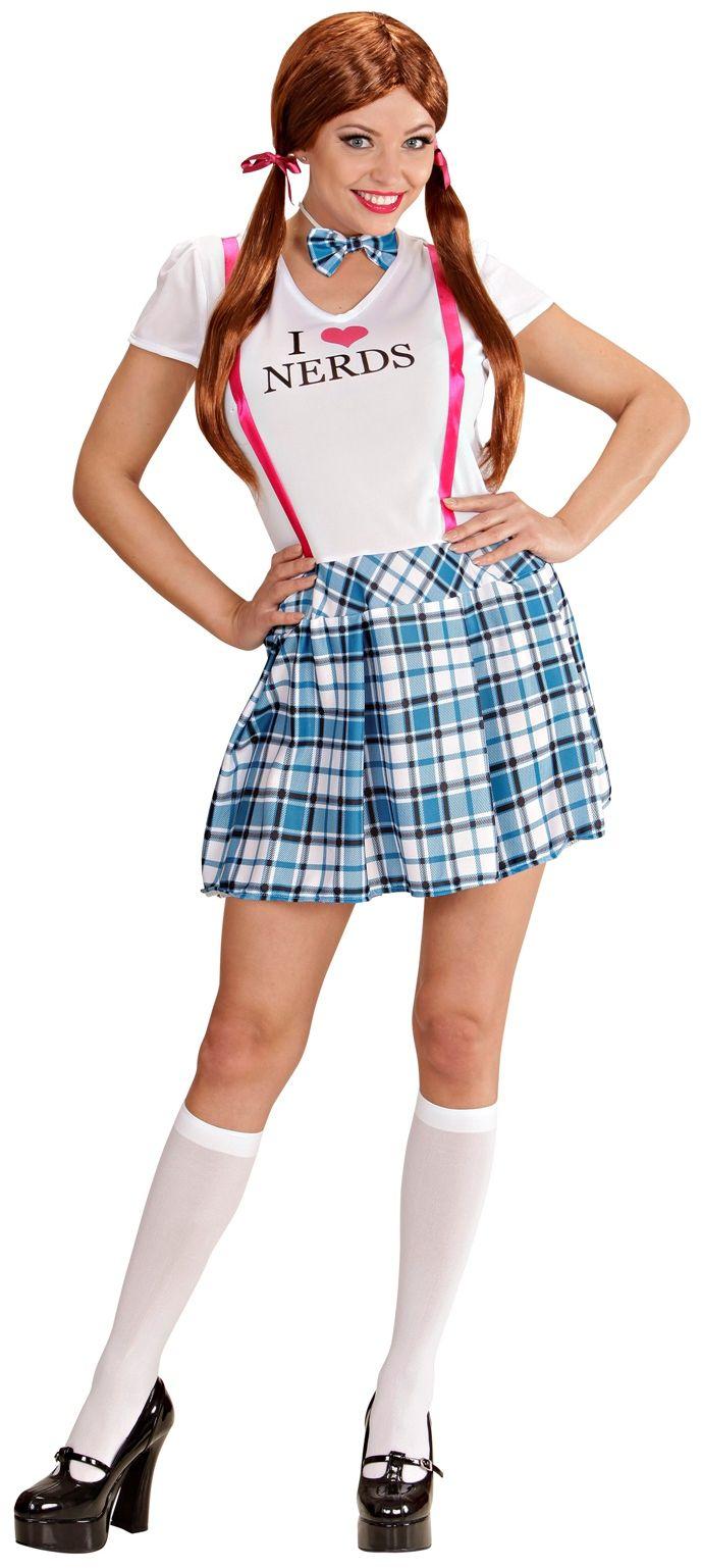 Schoolmeisje nerd kostuum