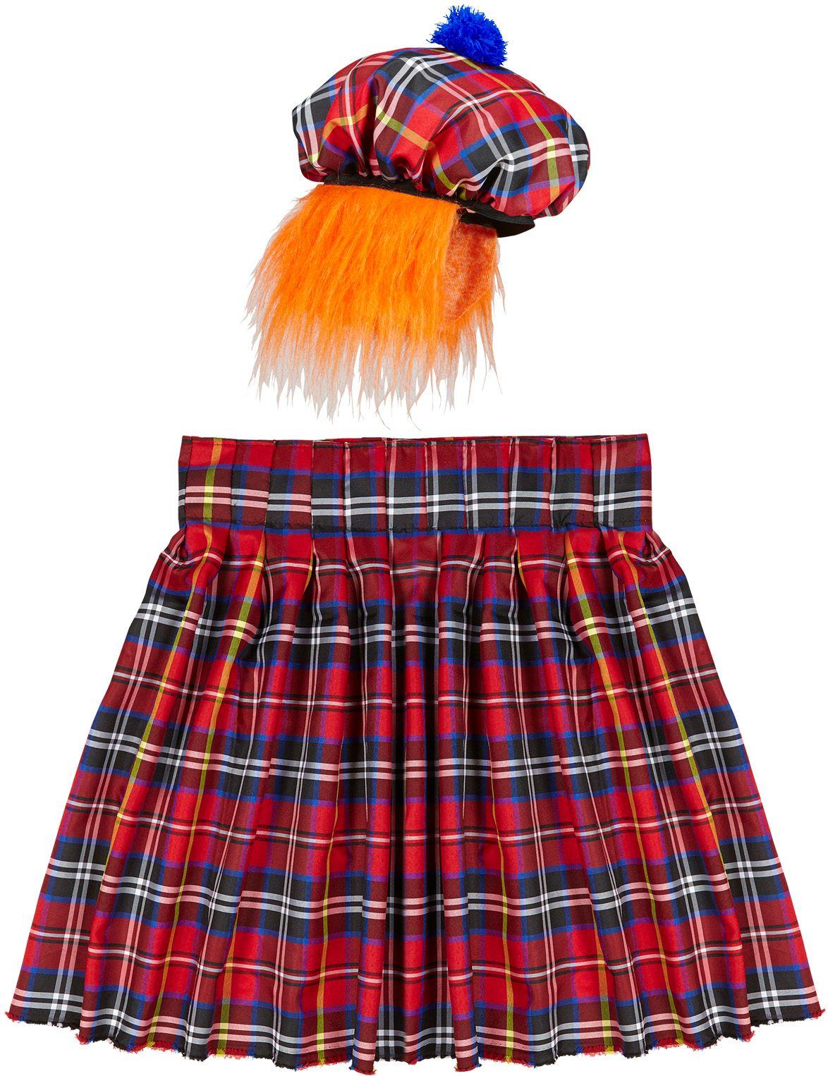 Schotse kilt en muts met pruik