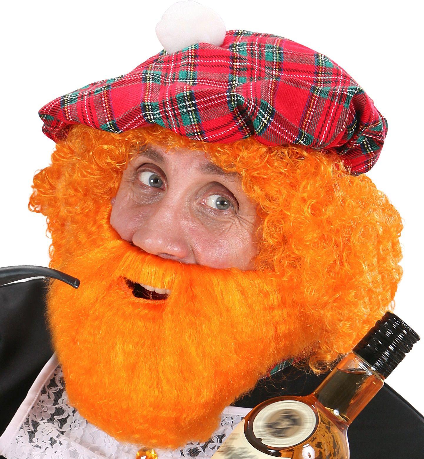 Schotse oranje baard met snor