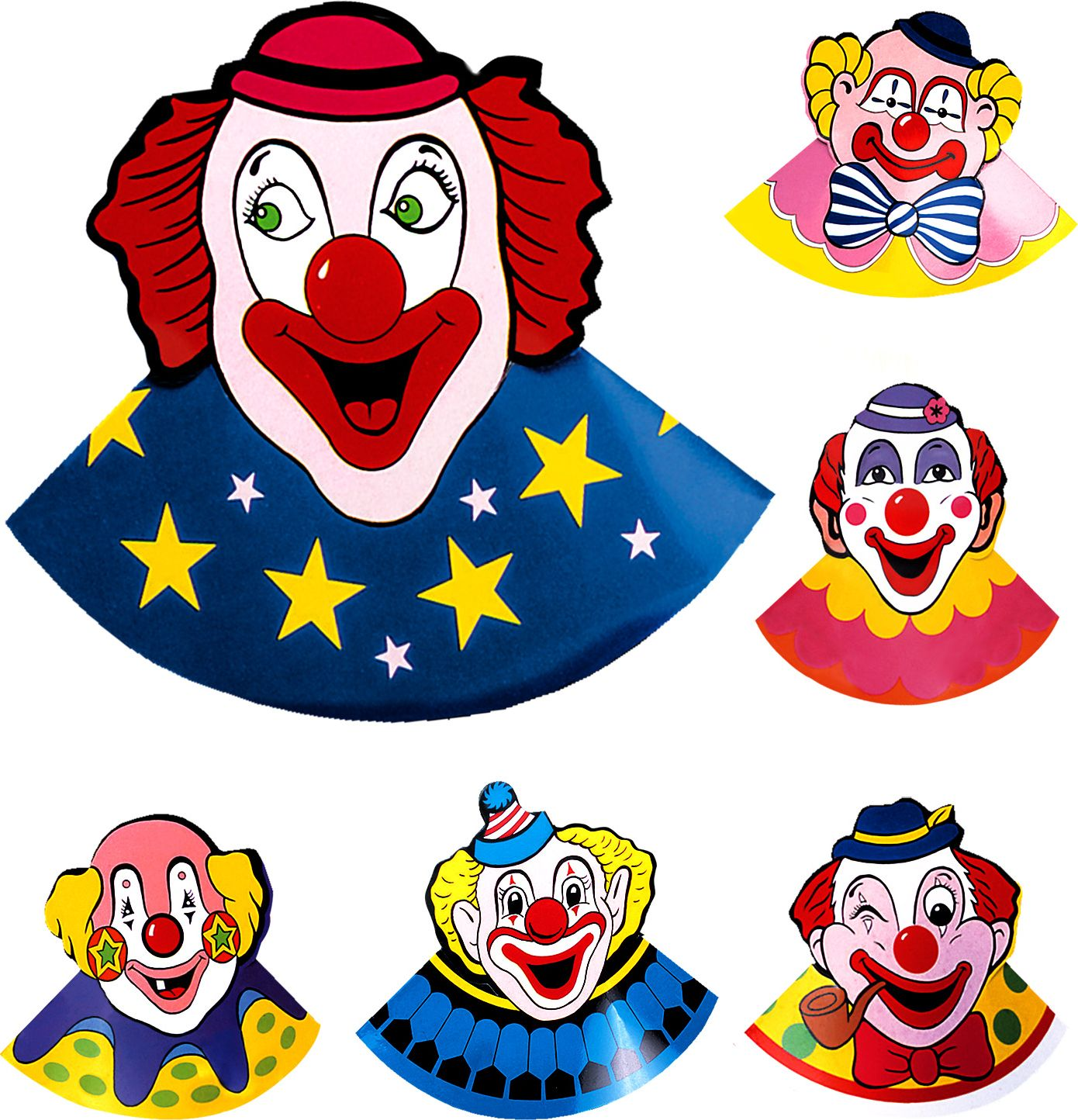 Set met 6 clown hoedjes
