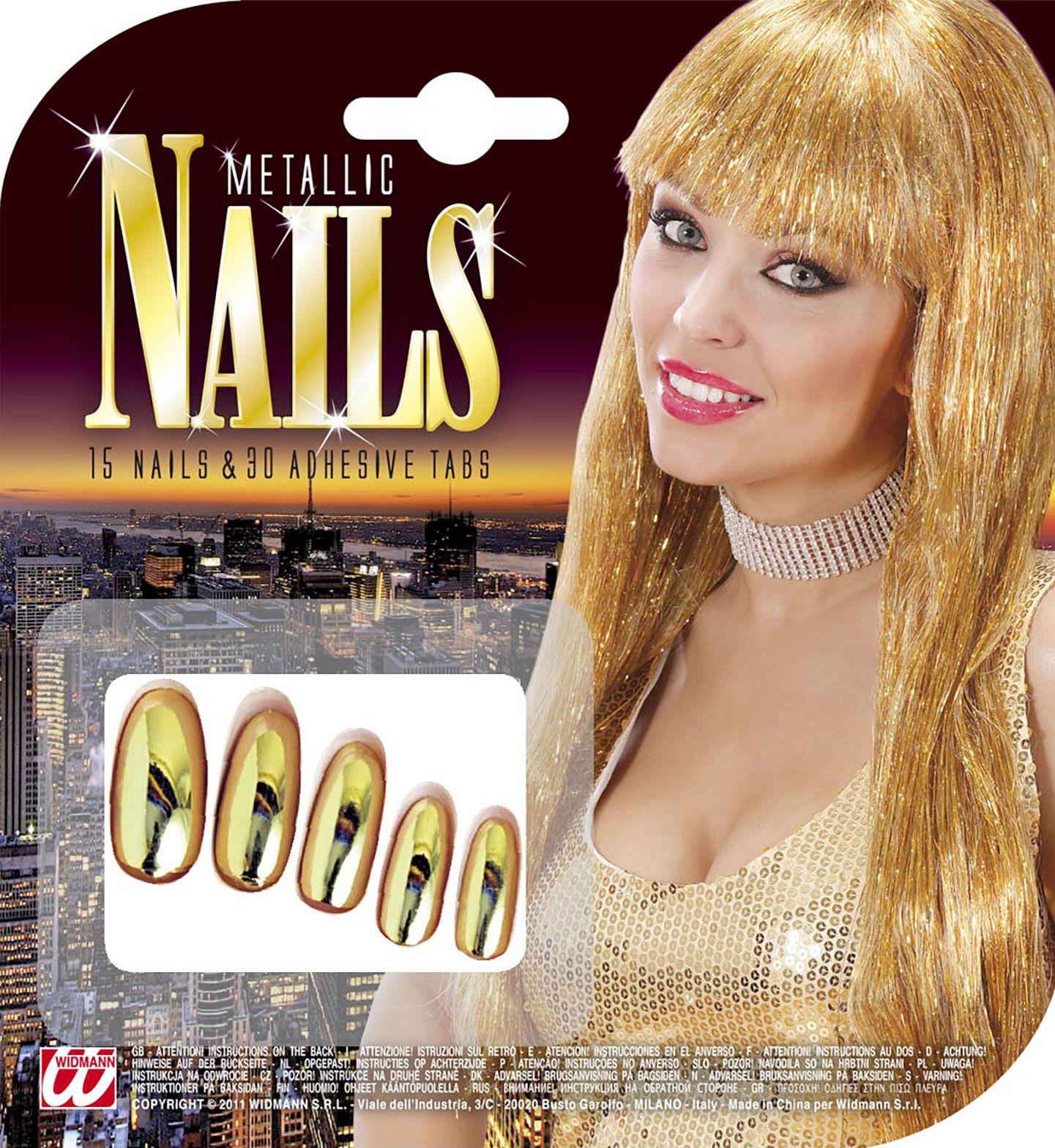 Set van 15 gouden metallic nagels