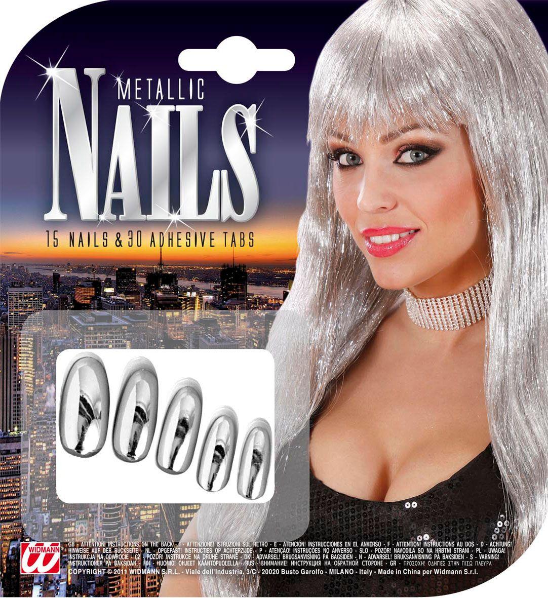 Set van 15 zilveren metallic nagels