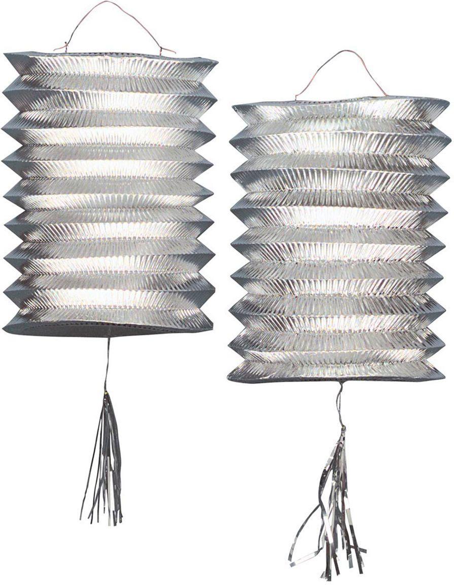 Set van 2 zilveren lantaarns