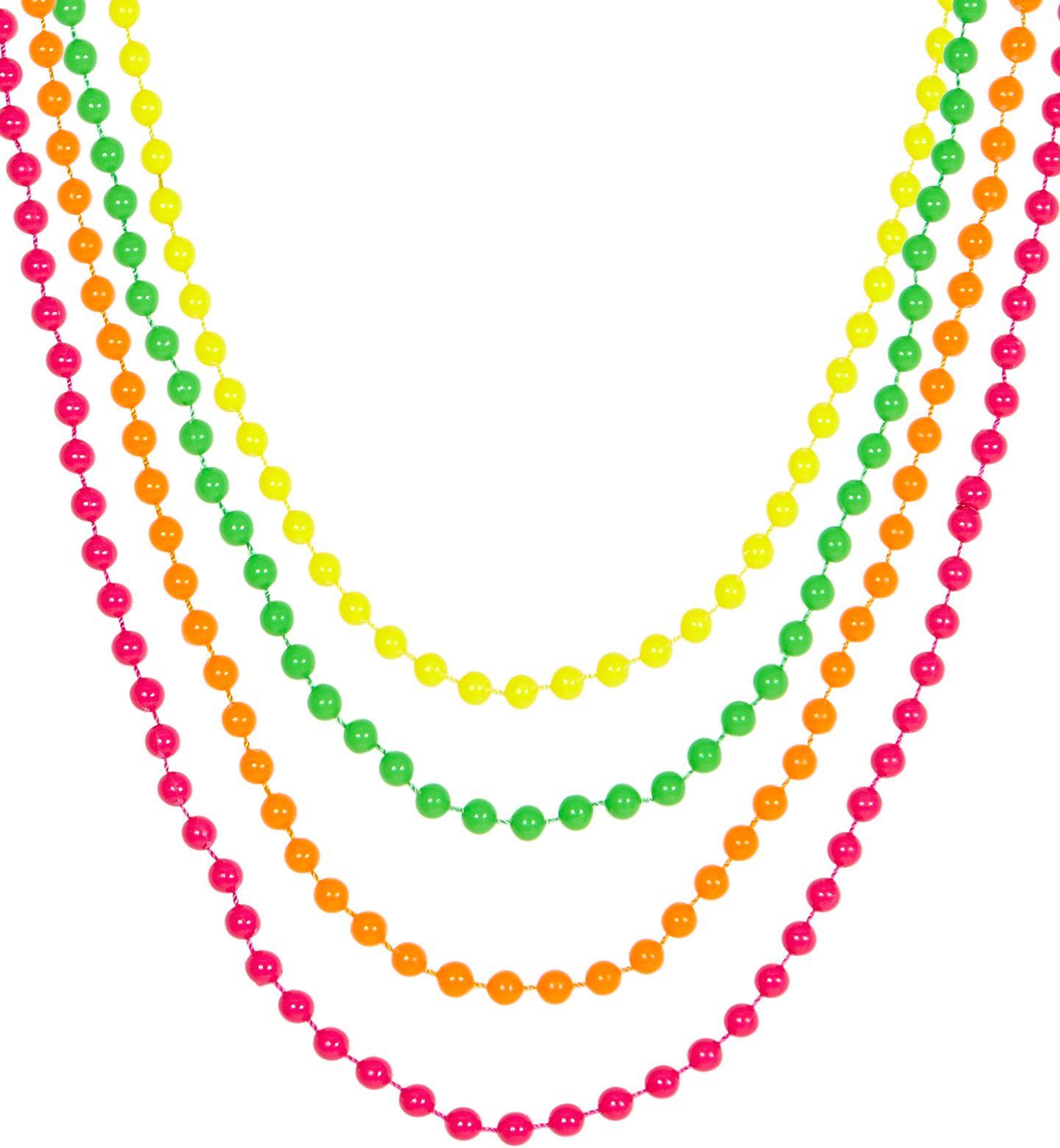 Set van 4 neonkleurige parelkettingen