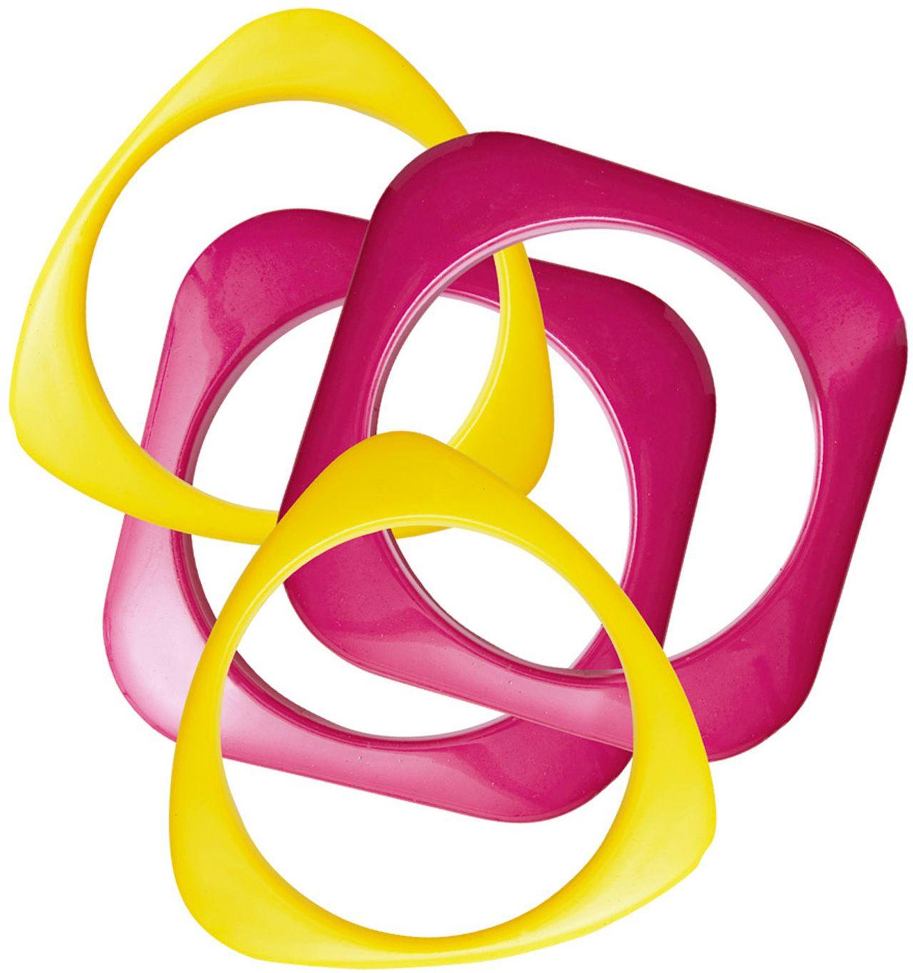 Set van 4 roze-gele disco armbanden
