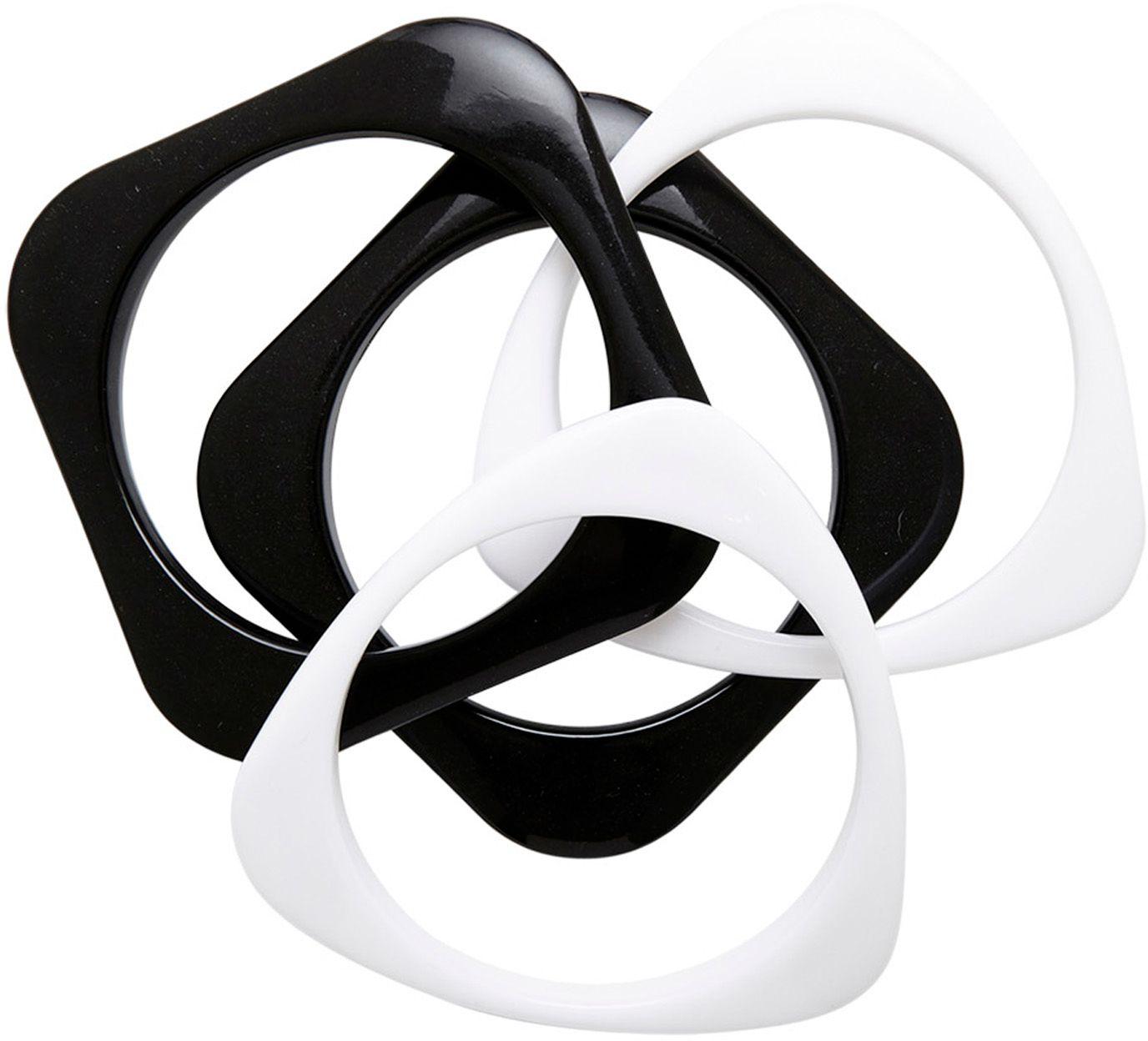 Set van 4 zwart-witte disco armbanden