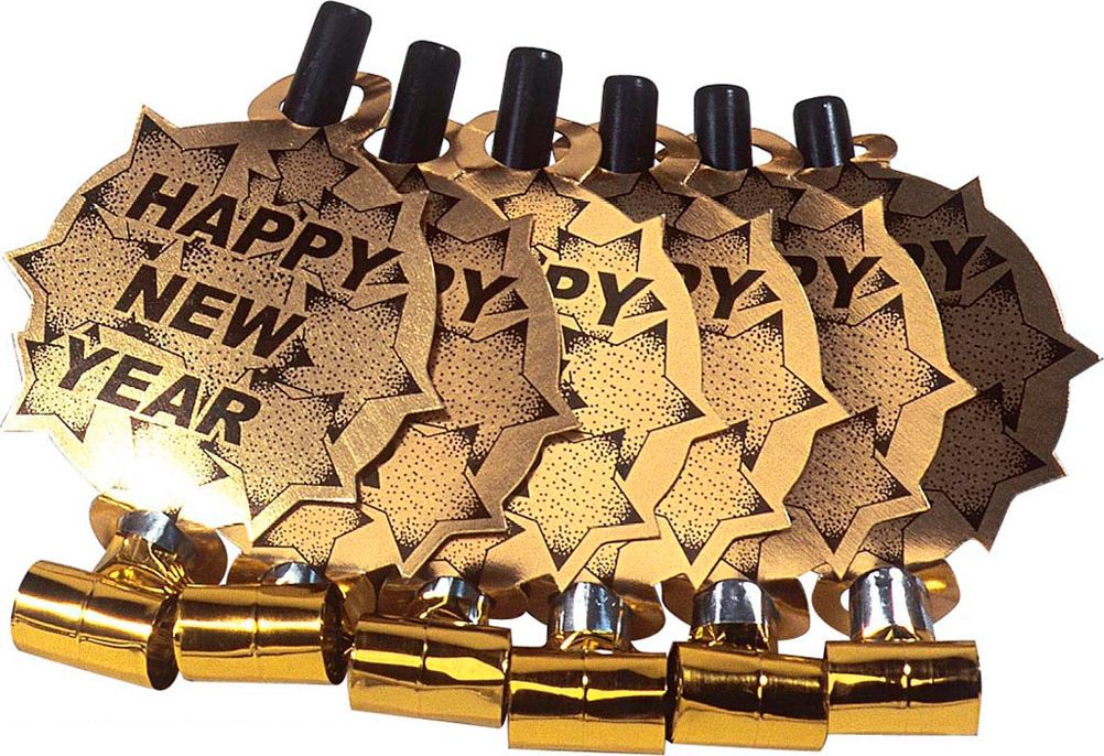 Set van 6 gouden Happy New Year fluitjes
