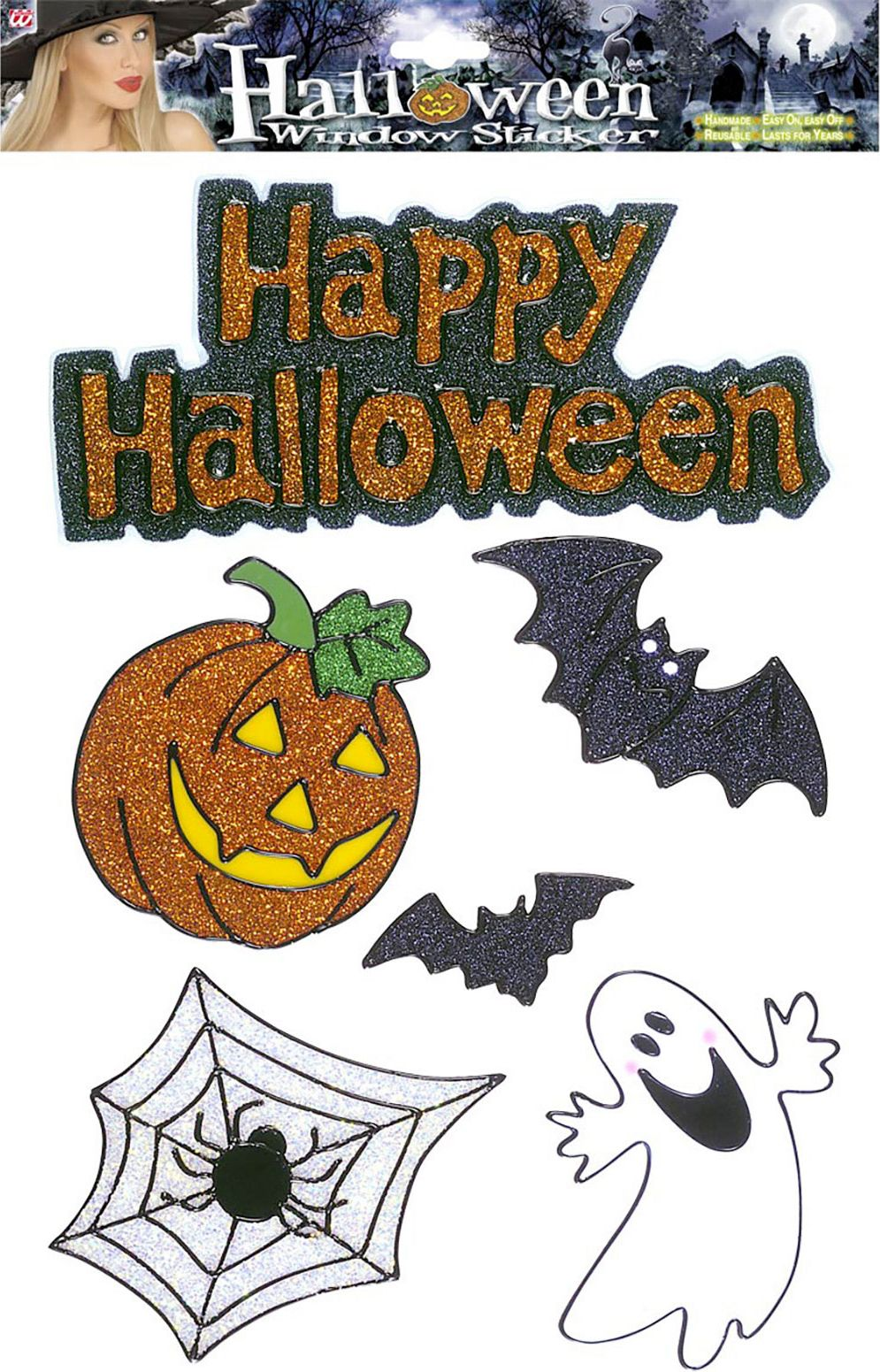 Set van 6 halloween raam stickers