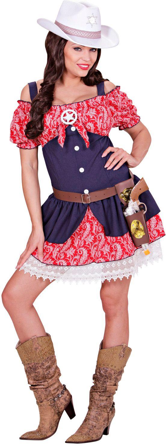 Sexy Blauw Rood Cowgirl jurkje