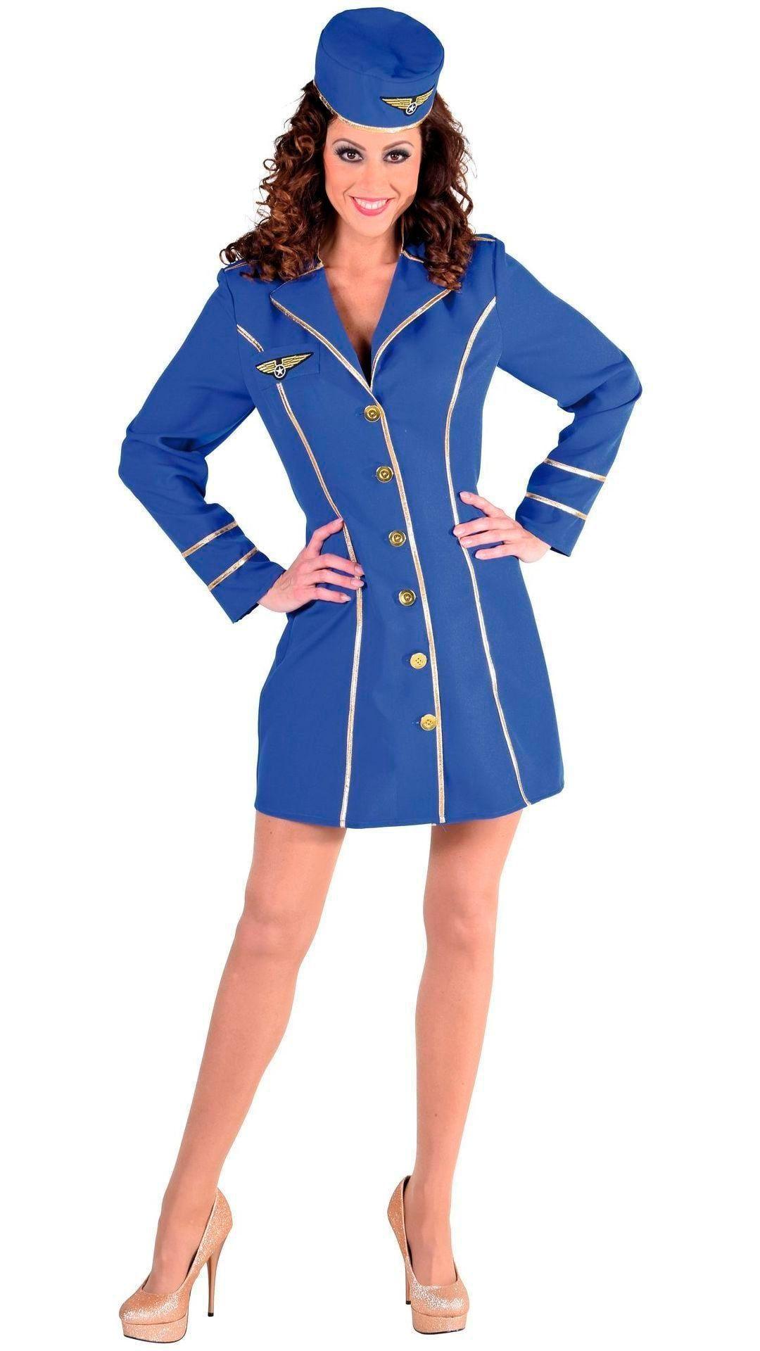 Sexy blauw stewardessen kostuum dames