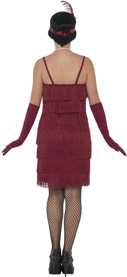 Sexy flapper jurk bordeaux rood