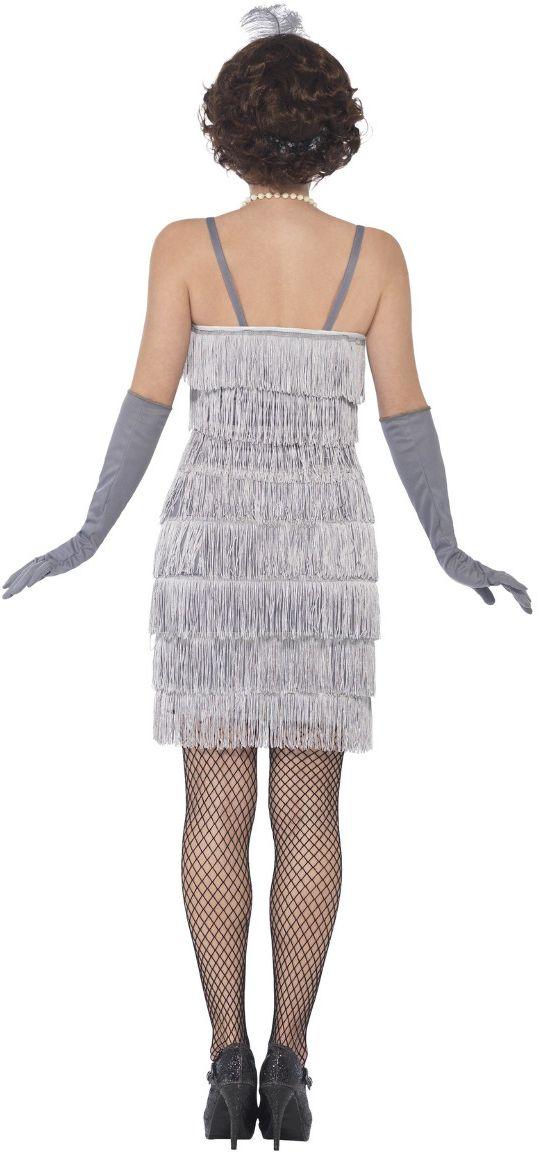Sexy flapper jurk zilver