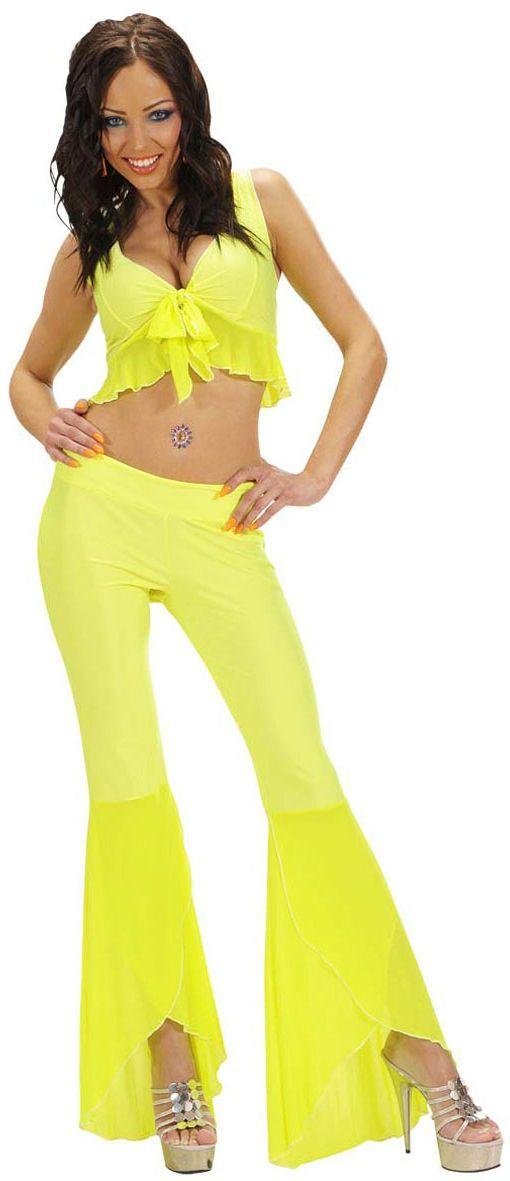 Sexy neon gele samba top en broek
