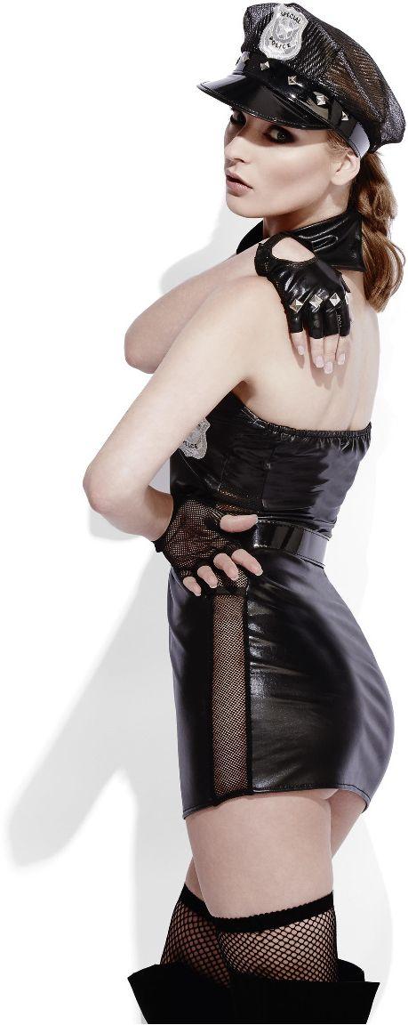 Sexy politie lederlook outfit