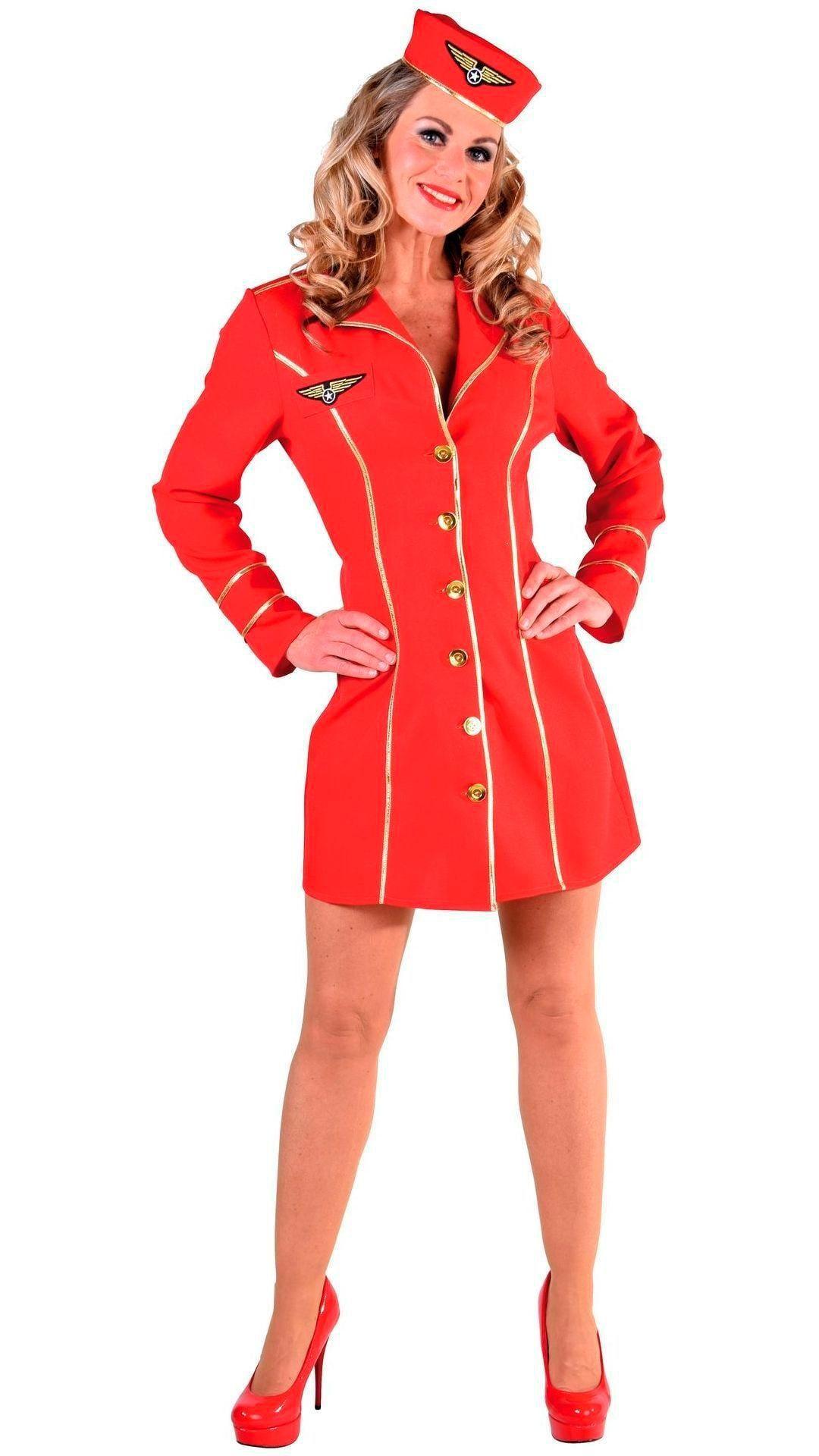 Sexy rood stewardessen kostuum dames
