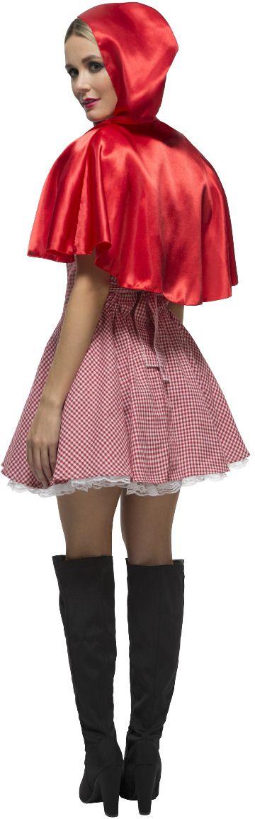 Sexy roodkapje jurk geblokt