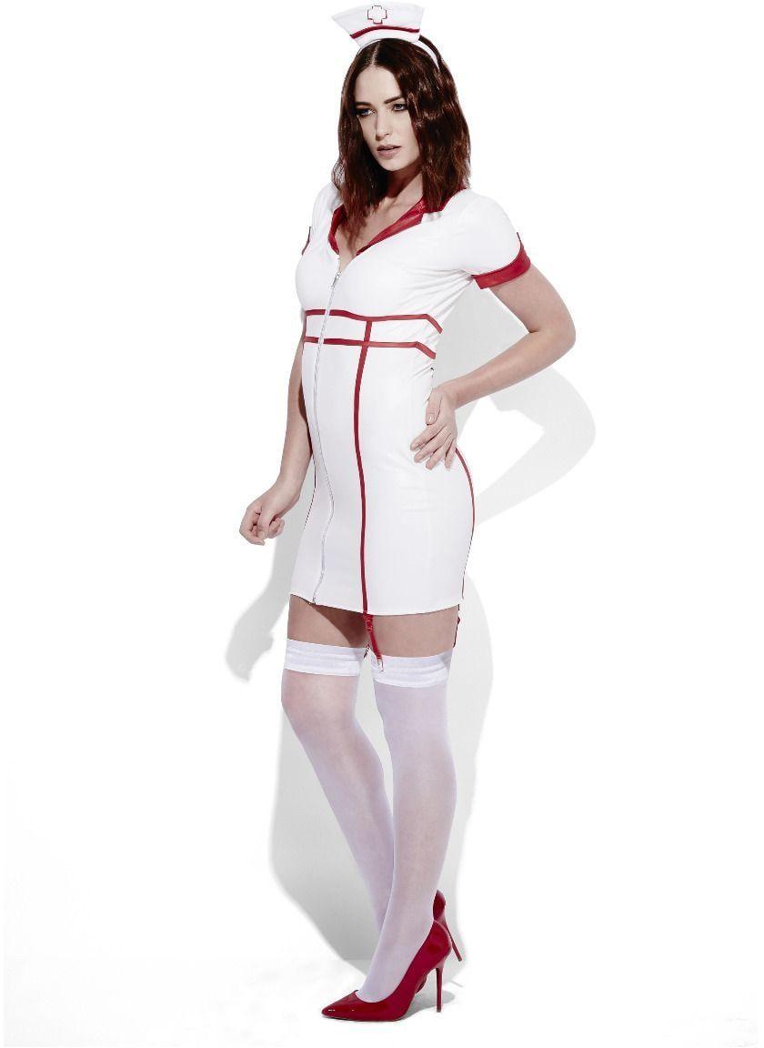 Sexy verpleegster lederlook jurkje
