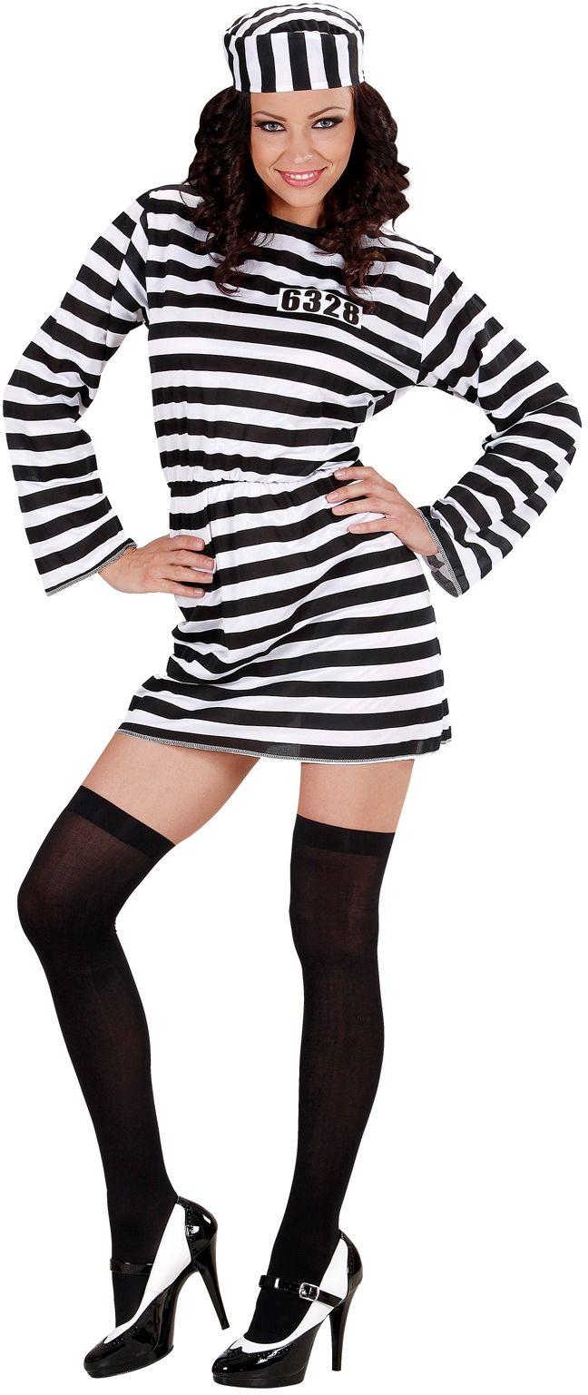 Sexy Vrouwelijke Gevangene Zwart Wit