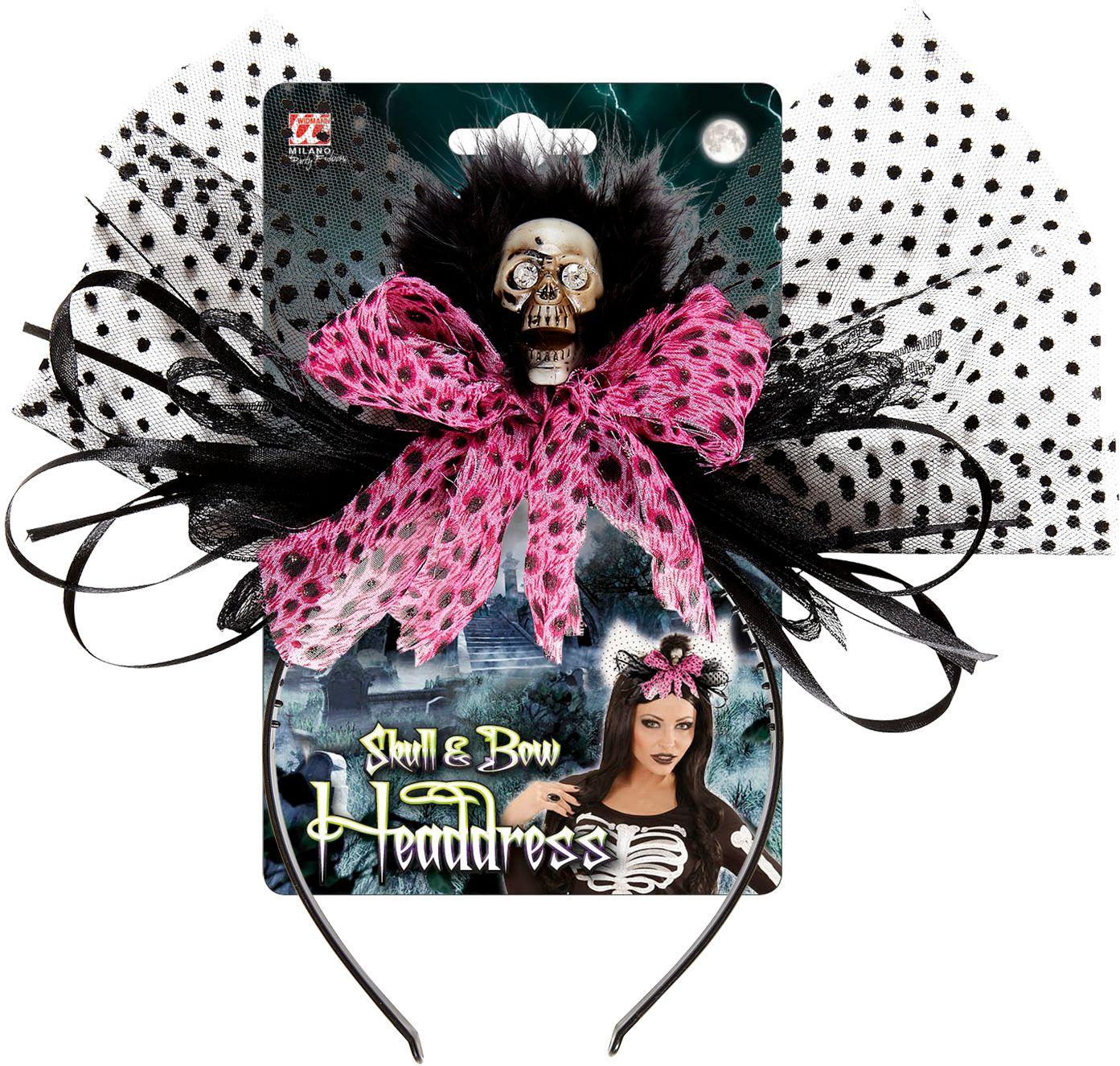 Skelet haarband met roze strik