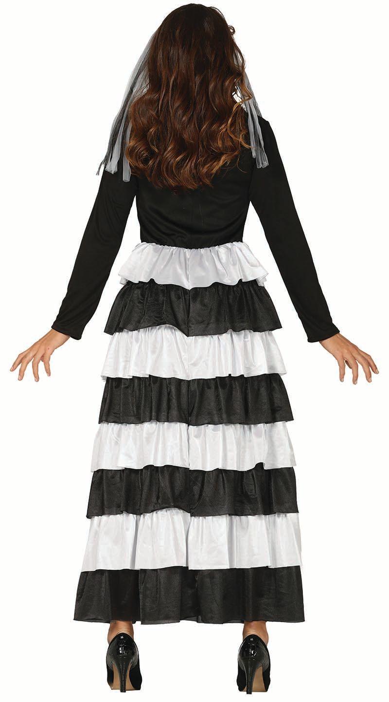 Skelet jurk zwart wit dames