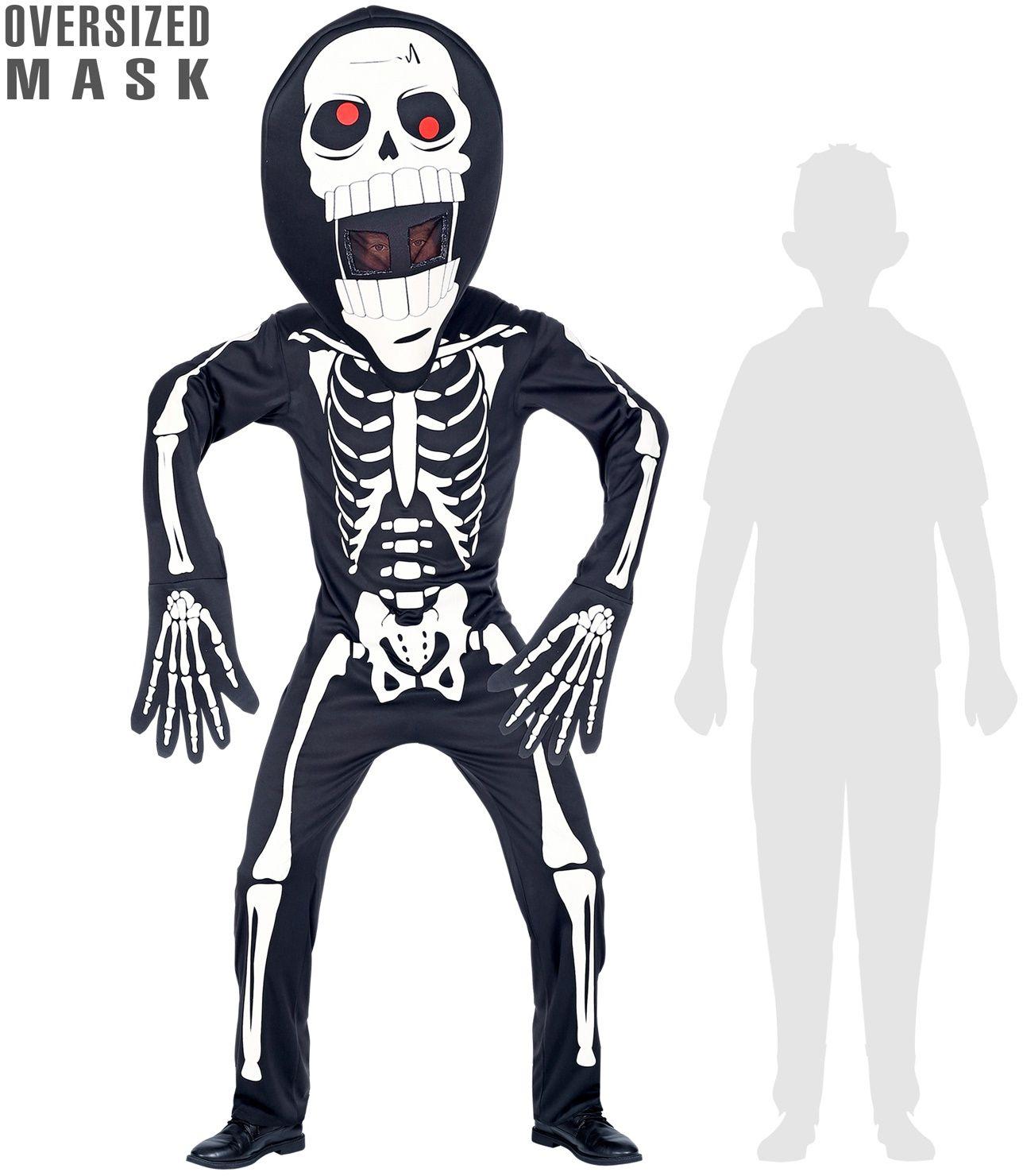 Skelet pak met groot hoofd kind