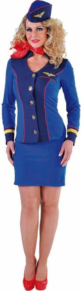 Sky blue stewardess kostuum vrouw