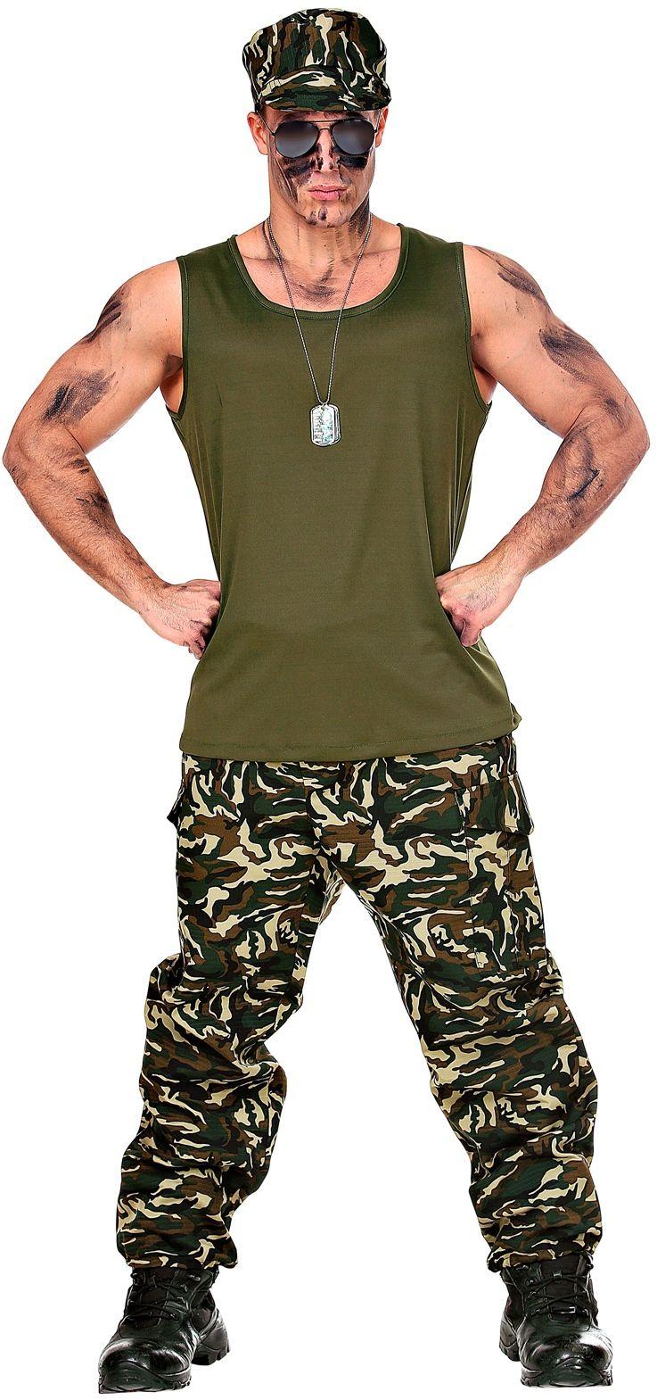Soldaten broek en hemd man