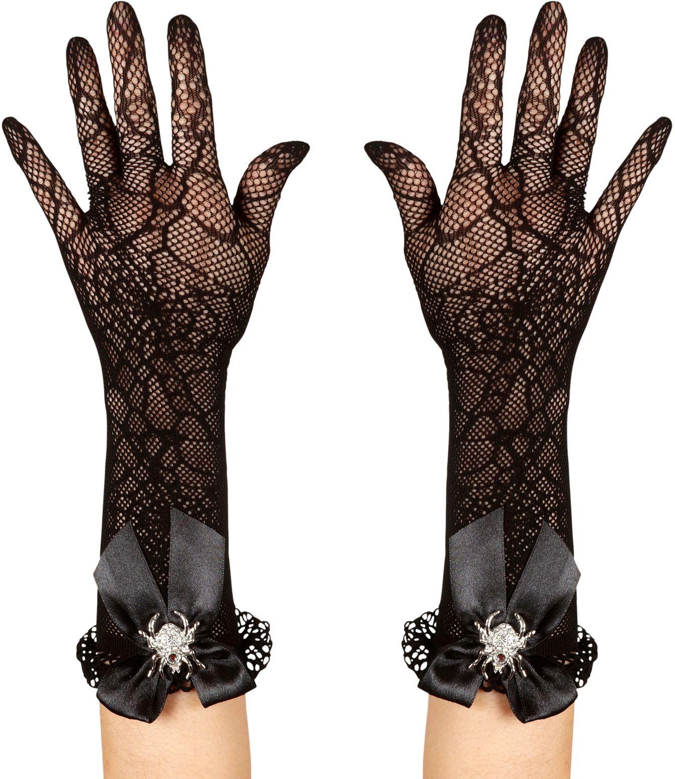 Spinnenweb handschoenen met strass