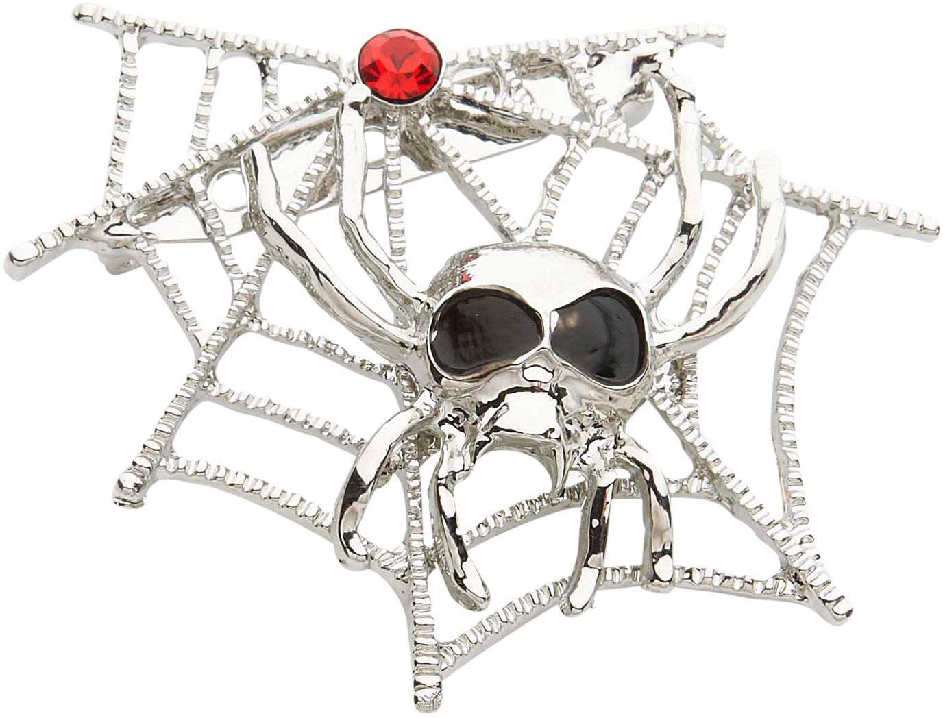 Spinnenweb met spinnen broche