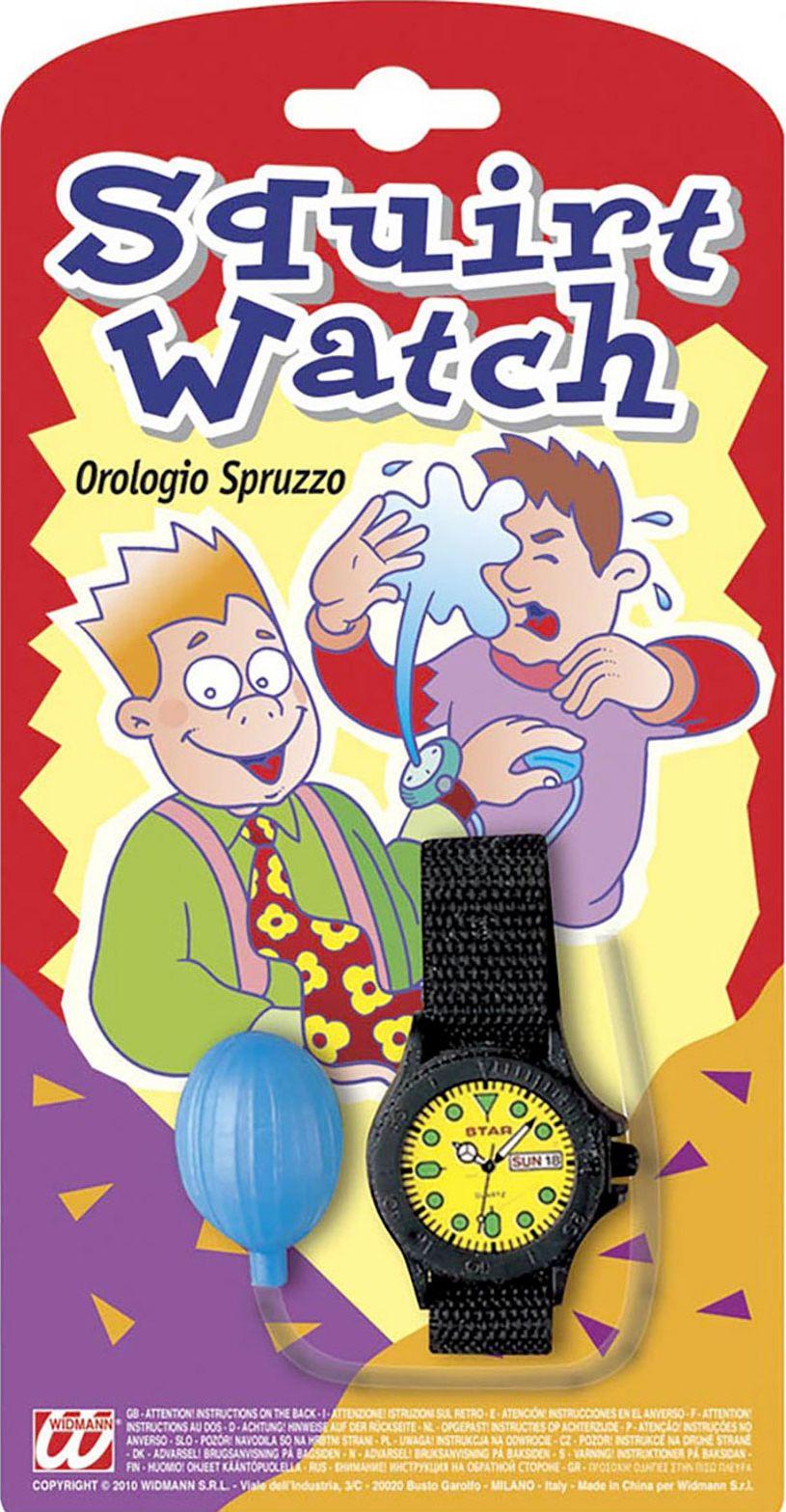 Spuitend fop horloge