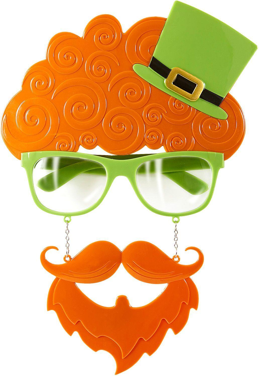 St. Patricksday bril met snor en sik