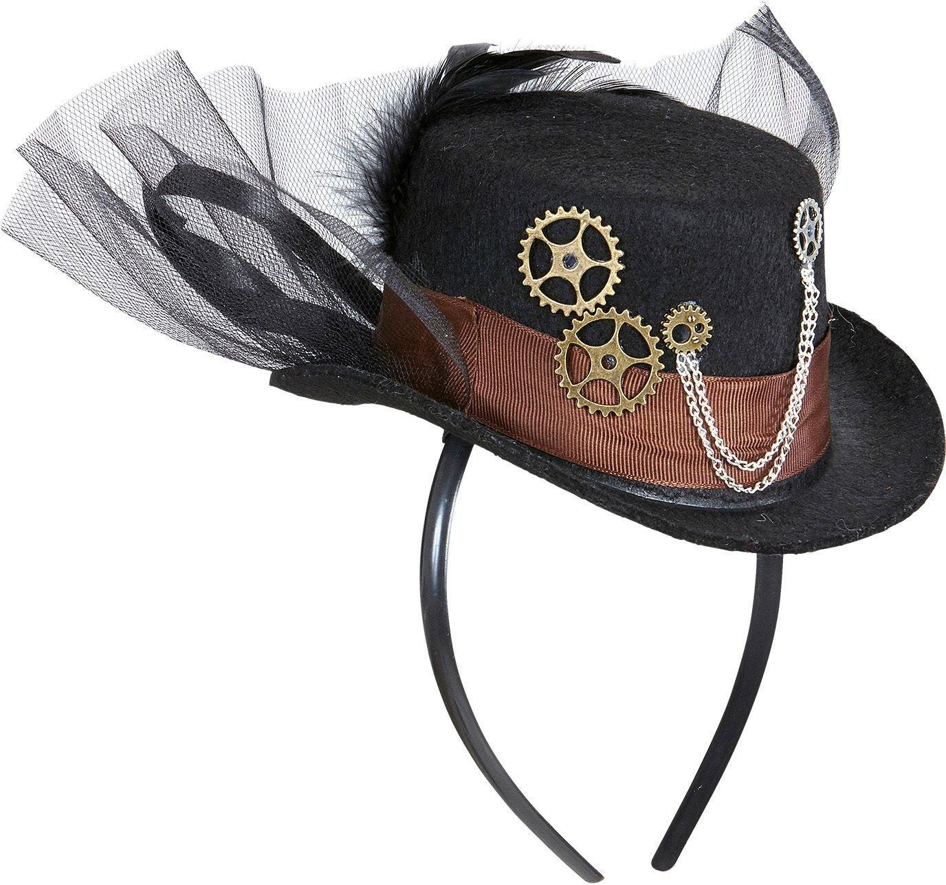 Steampunk haarband met mini hoge hoed