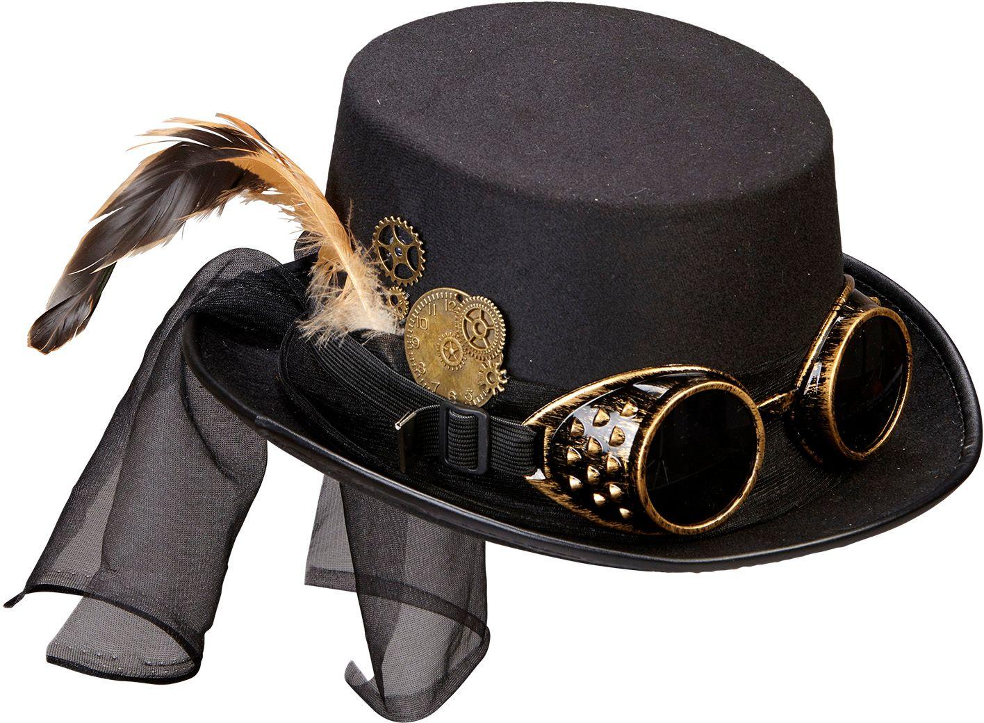 Steampunk hoed met bril en klokwerk