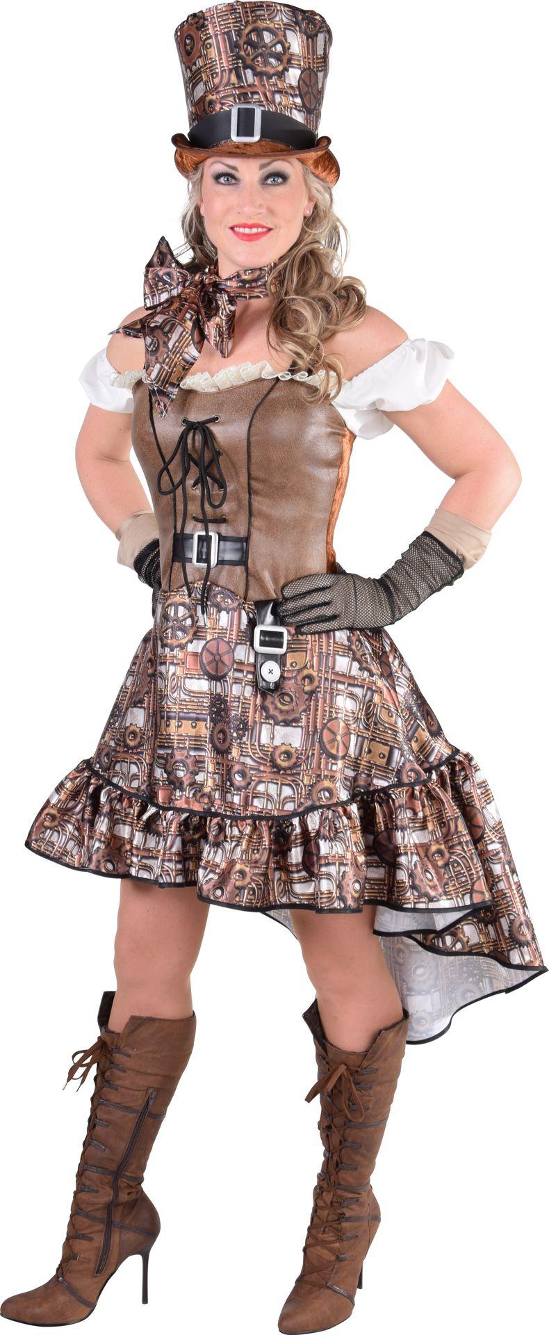 Steampunk jurk bruin dames
