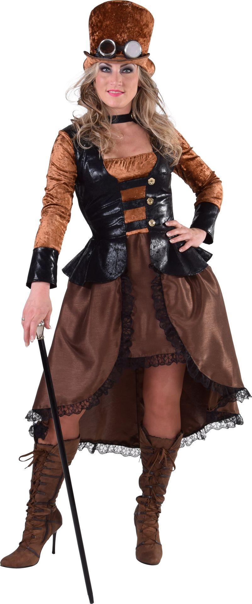 Steampunk jurk dames bruin