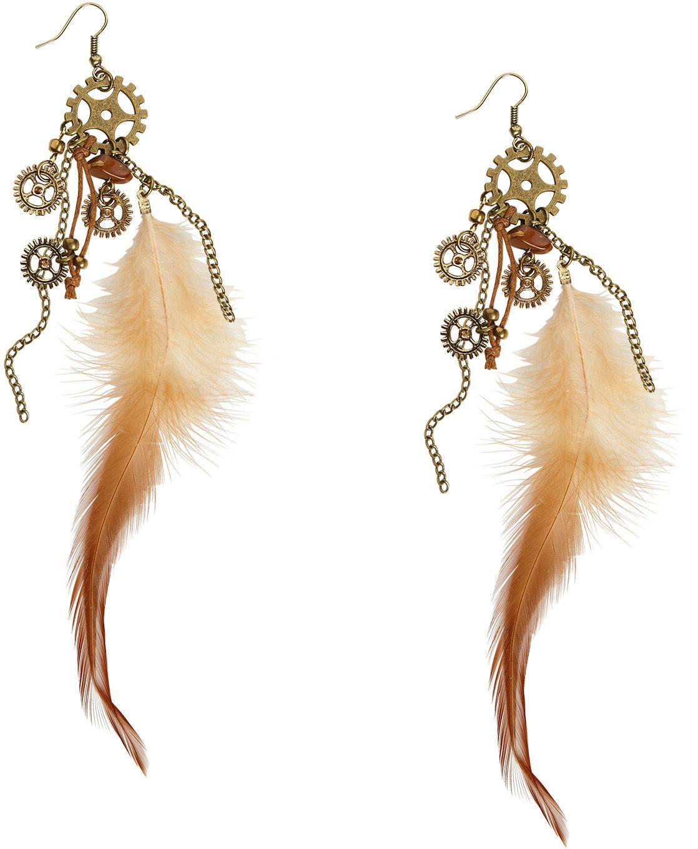 Steampunk oorbellen met veren